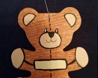 Hand-Painted Teddy Bear Ornament