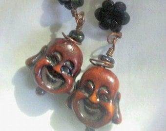 Happy Buddha Hanging Earrings
