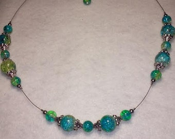 Blue and Green Floating Bead Necklace and Earrings Set