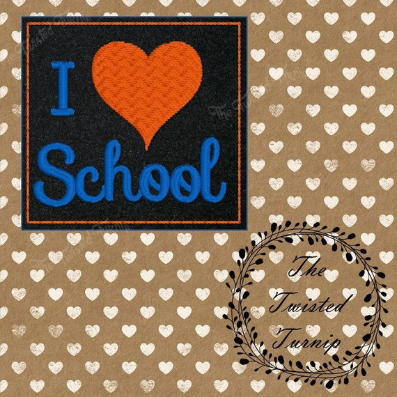 Cute I Heart School Love Boys Girls Kids Feltie Felt Embroidery Design File Instant Download 4x4 Hoop