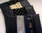 Black Faux Leather Passport Cover, Handmade Personal Passport Holder