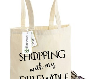 Game of Thrones Organic Tote bag - Shopping With My Direwolf - Gift for Dog Owners, Game of Bones!, TS1087