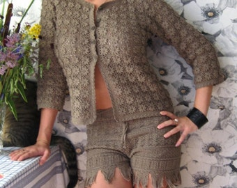 crochet jacket crocheted from separate elements.