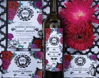 Elegant Floral Wedding Invitation & Wine Label Sample Set
