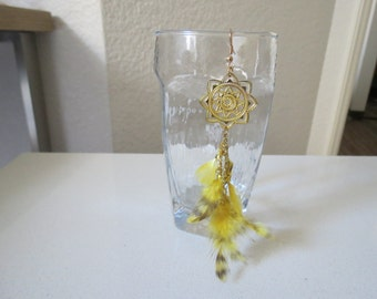 Handmade feather 1 side Earring - Yellow