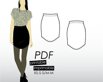 XS-M Bodycon mini skirt with curved hem (PDF sewing pattern for jersey)