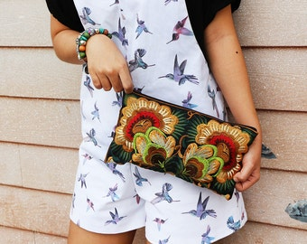 Flower Clutch With Embroidered Fabric