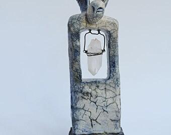 Raku Ceramic Angel with Natural Raw Quartz Crystal, OOAK