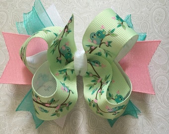 Bird Bow, Birds Bow, bows for girls, nature bows, hair bows for girls, green bow, pink bow, custom bows
