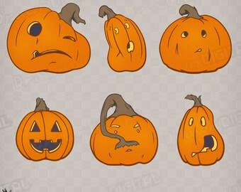 Hand-Drawn Halloween Jack O' Lanterns - Digital Clipart/Graphic
