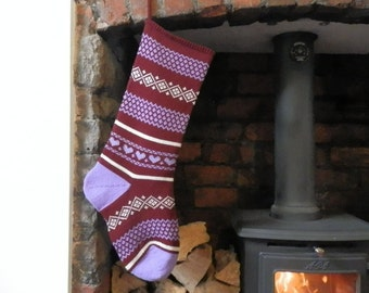Knitted Christmas Stocking Red and Lilac Pattern, Hearts