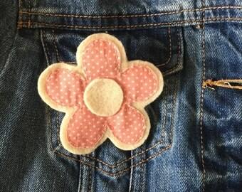 Pink Spotty Flower Brooch