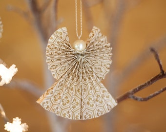 Gold Cream Angel Christmas Decoration origami minature home decorative fair trade
