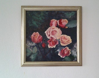 Original oil painting Abstract Colorful Wall Decor Textured Artwork *Peach Roses*