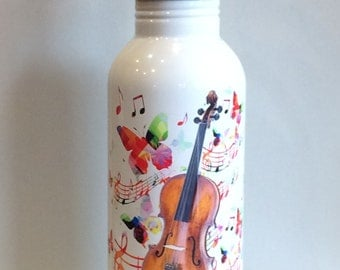 Personalized 20 oz Stainless Steel Water Bottle Violin Teacher Kids Gifts Music