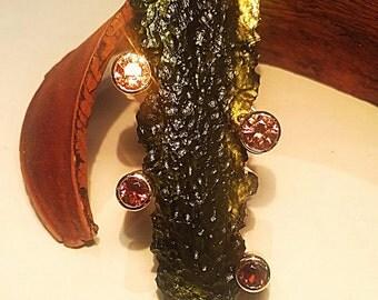 Gold, Moldavite, Zircons, Garnet Spessartite, green Tourmaline pendant