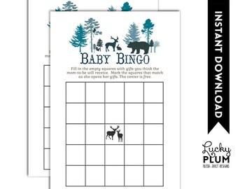 Woodland Baby Bingo / Forest Baby Bingo / Tree Ring Baby Bingo / Deer Baby Bingo / Bear Baby Bingo / Animal  Baby Bingo / Tribal Baby Bingo