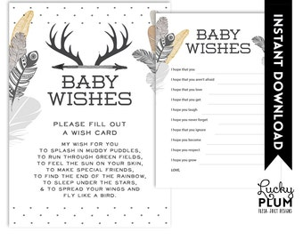 Deer Baby Wishes / Boho Baby Wishes / Tribal Baby Wishes / Feather Baby Wishes / Aztec Baby Wishes / Black Baby Wishes / DIY Printable