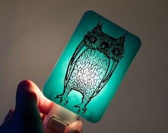 Owl Nightlight of Fused Glass in Aqua Blue - Large Funny Owl by Happy Owl - night light Halloween Decor Owl