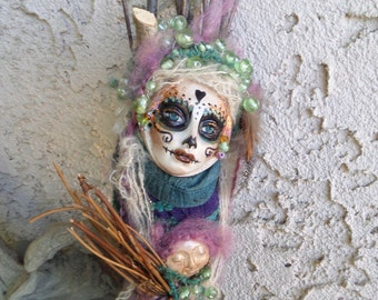 Sugar Skull, Halloween spirit, Serenity Spirit, Garden Keeper, Nature Goddess, Art doll,