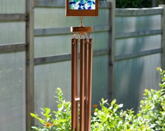 Windchimes Glass with Large Copper Chimes sea glass beach glass wind chimes