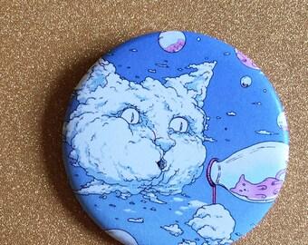 Bubble Blowing Cloud Cat 2.25 Inch Magnet - Blue, Fridge Magnet, Refrigerator Magnets, Cat Magnet, Kitten Magnet, Cat Artwork