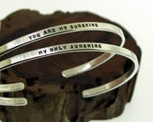 You Are My Sunshine My Only Sunshine, sterling silver cuff bracelet SET, hand stamped jewelry by Kathryn Riechert