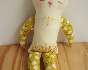 OOAK Tattooed Embroidered pet Sol Cat doll