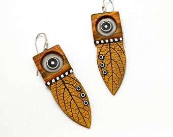 polymer clay dangle big leaf earrings faux wood sterling French hook wire black white bulls eye circles modern fun light weight
