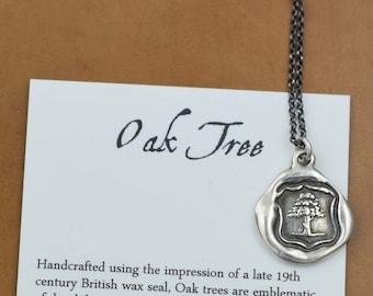 Oak Tree Jewelry - Wax Seal Necklace Symbolising Strength, Vitality & Guardianship - Oak Tree Necklace - 165