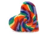 Polymer Clay Jewelry - Swirl LGBT Rainbow Heart Pin - 1.5 Inches