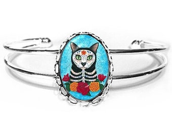 Day of the Dead Cat Bracelet Mexican Sugar Skull Gothic Cat Art Silver Cat Cameo Bracelet 25x18mm Gift for Cat Lovers Jewelry