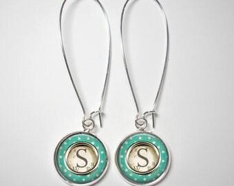 Custom Initial Earrings -12mm or 16mm Silver Kidney Wire Dangles - Vintage Look - Turquoise