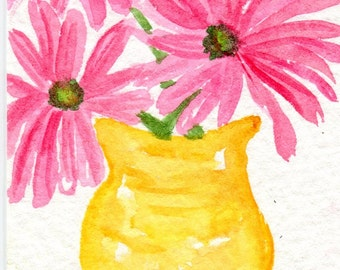 ACEO Pink Daisies Watercolor Painting, Small Flowers painting, Original art card, daisies painting, watercolors paintings original