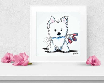 Choice of KiniArt Westie Dog Art PRINT Signed Reproduction