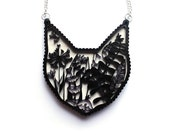 Cat Necklace - Laser cut illustration - Acrylic and hand painted wood white valentines gift