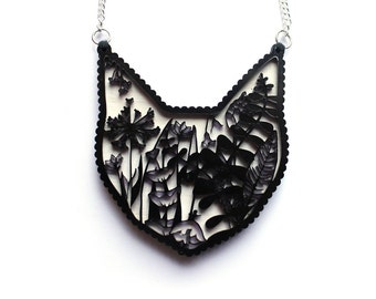 Cat Necklace ONE LEFT - Laser cut illustration - Acrylic and hand painted wood white valentines gift