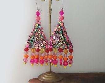 Calypso Earrings, Bedazzling, Metallic, Triangle, Sparkle, Boho Earrings, Pretty, Dangle Earrings, Hot Pink, Orange