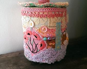 Textile Container, Vintage Lace, Pink, lemon, Mint, Lilac, Storage, Vintage Textiles, Rustic Decor, Boho Decor