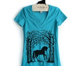 Fitted S,M,- Teal Tri-Blend Deep V-Neck Tee with Unicorn Screen Print
