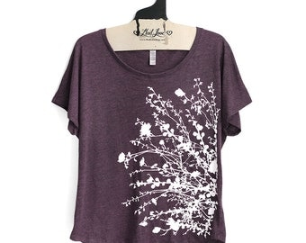 S,M,L,XL-  Tri-Blend Vintage Purple Dolman Top with Flower Branch Screen Print