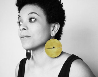 Megan statement Earrings - oversize big huge african creole hoop gold large geometric earrings disc brass bold fashion jewelry chunky