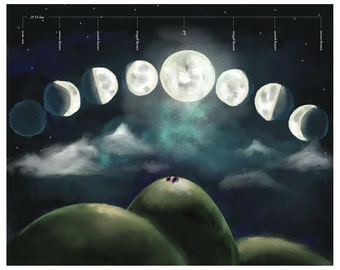 Moon Phase Print - fun educational Moon poster / chart for children - Large Wall art