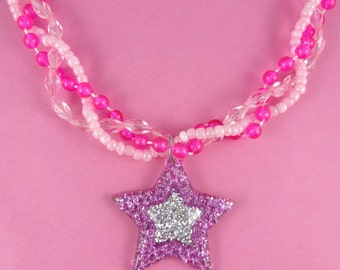 Glittery Pink Star Necklace - braided bead choker with big star pendant - sparkly glitter, cute kitsch girly, Fairy-kei Sweet Lolita, Decora