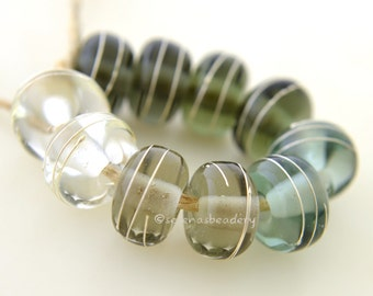 Buyer's CHOICE - Transparent GRAY with fine SILVER Wire Wraps - Handmade Lampwork Beads - taneres - Choose glossy or matte
