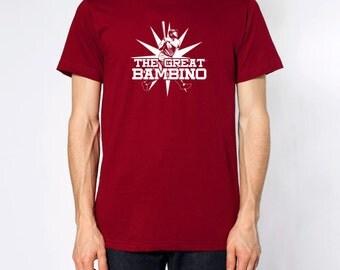 GREAT BAMBINO American Apparel T-shirt Babe Ruth Baseball Screen printed Shirt Graphic Short & Long sleeve tees