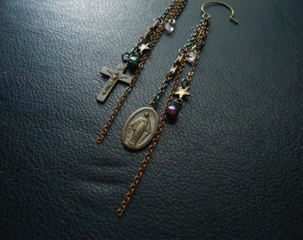 reduced - mystic magic - found object crystal star cross virgin mary shoulder duster earrings chain collage mixed metal - occult jewelry