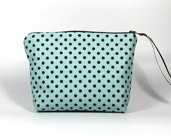 50% Off Sale: Baby Blue with Brown Polka Dots Zipper Pouch