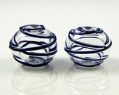 Lapis Blue Hollow Spiral Wrap Lampwork Glass Bead Pairs