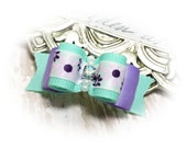 Dog Bows for Spring, Aqua and Lilac Floral Dog Hair Bow